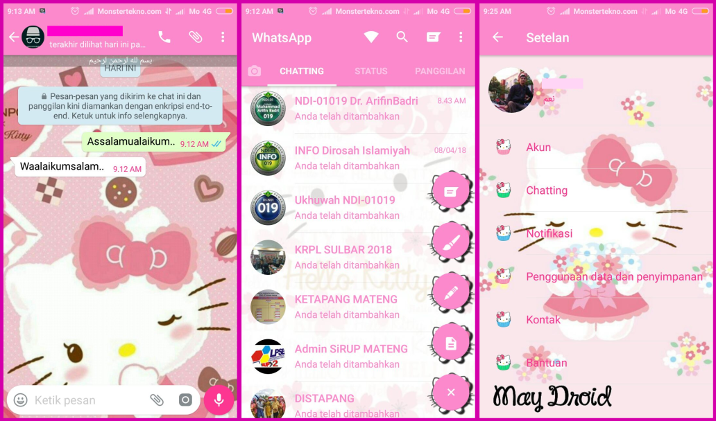 Download Tema Whatsapp Hello Kitty Pink Cantik Monstertekno