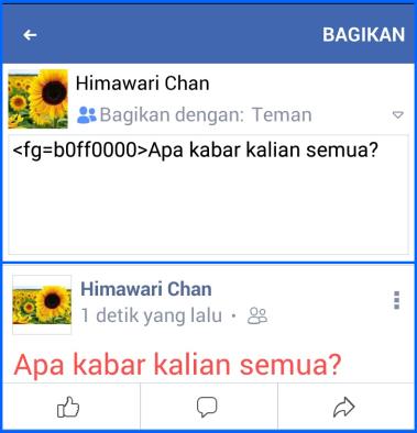 Cara Membuat Tulisan Berwarna di FB dengan Kode Warna Fb Lite 1