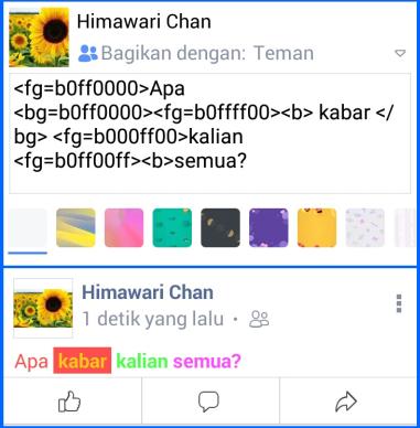 Cara Membuat Tulisan Berwarna di FB dengan Kode Warna Fb Lite 3
