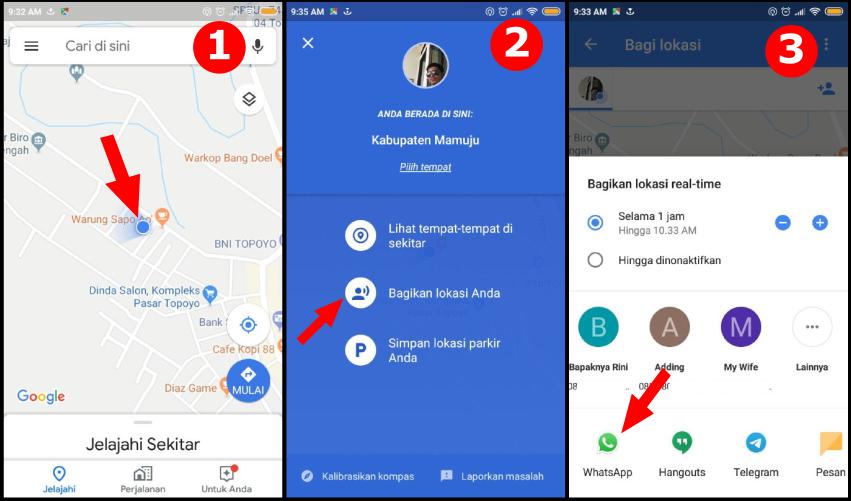 Cara share Lokasi menggunakan Google Maps