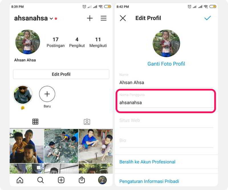 cara mengganti nama pengguna instagram